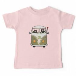 """T-shirt """"deux chats dans un bus vert"""""""